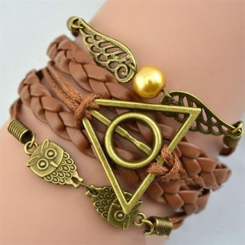 Harry Potter Armband mit Metallanhängern und Leder, Eulen, Schnatz, heiligtümer
