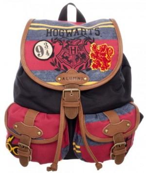 Bunter Harry Potter Rucksack mit Hogwarts-Wappen und Aufnäher